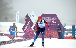 Alena Kaufman (Russia) competes on Winter Paralympic Games  in Sochi Royalty Free Stock Photography