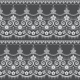 Seamless lace vector vector pattern, white retro ornamental repetitive design with flowers - greeting card, textile design. Alencon French lace frame or border vector illustration