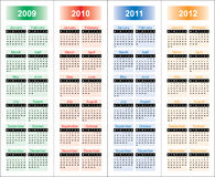 Сalendar of 2009-2012 years. Royalty Free Stock Photo