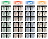 ?alendar de 2009-2012 anos. Foto de Stock