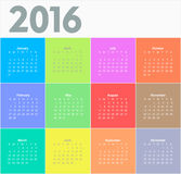 Сalendar for 2016 year. Colorful vector Royalty Free Stock Photos