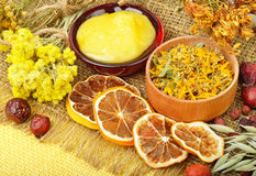 Сalendula flower, oats, immortelle flower, tansy herb, honey, w Stock Photo