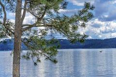 ` Alene Idaho di Coeur d del lago reflection della casa galleggiante del pino fotografia stock libera da diritti