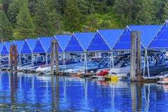 ` Alene Idaho Promenaden-Marina Piers Boats Reflection Lake Coeurs d stockfotos