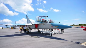 Alenia Aermacchi M-346 military jet at Airshow Royalty Free Stock Photos