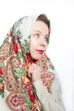 Alenka Russian beautiful woman in kerchief Royalty Free Stock Images