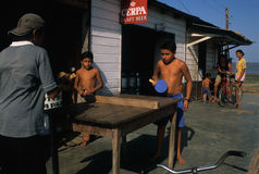 ALENQUER. Amazon Basin. BRAZIL. Children playing Ping-Pong.Alenquer (Amazonas) . State of Para. BRAZIL stock image