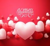 Alentine漂浮与愉快的情人节问候的心脏背景 向量例证