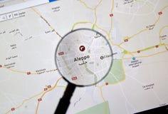 Alep, Syrie sur Google Maps sous la loupe photos stock