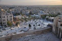 Aleppo - Ansicht von der Zitadelle stockbild