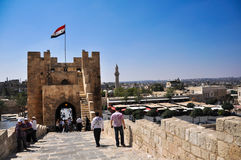 Aleppo castle gate Stock Photos