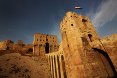 Aleppo Castle in Syria. The bridge that leads to the Citadel, the castle of Aleppo, Syria stock image