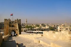 Aleppo Citadel. View of Aleppo and a part of its Citadel (Syria Stock Image