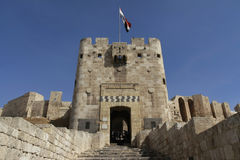 Aleppo Citadel Gate. Gate of the citadel in Alappo, Syria Stock Image