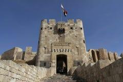 Aleppo Citadel Gate. Gate of the citadel in Alappo, Syria stock image
