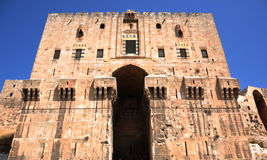 Aleppo Citadel. Gate of the citadel in Alappo, Syria. Photo taken on: October 10, 2010 Royalty Free Stock Images