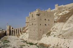Aleppo Citadel. Gate of the citadel in Aleppo, Syria Stock Photos