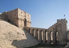 Aleppo citadel i syria royaltyfri fotografi