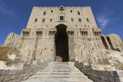Aleppo Citadel Main Gate. Gate of the citadel in Aleppo, Syria Stock Photography