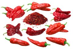 Aleppo peppers whole, crushed and dried, paths royalty free stock image