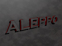 Aleppo red dark grey text letters rock 3d render Royalty Free Stock Photography