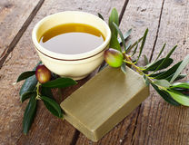 Aleppo soap and Olives royalty free stock images