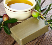 Aleppo soap and Olives Royalty Free Stock Photos