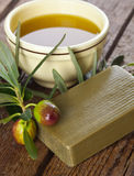 Aleppo soap and Olives Royalty Free Stock Photography
