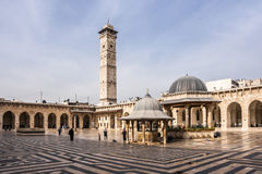 Aleppo, Síria, começo da mesquita de Umayyad pouco antes da guerra civil síria Fotografia de Stock Royalty Free