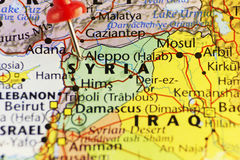 Aleppo Syria war pinned map Stock Image