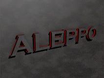 Aleppo vaggar röda mörka gråa textbokstäver 3d framför Royaltyfri Fotografi