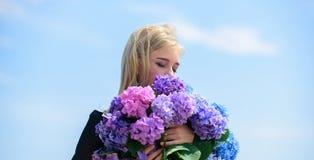 Alergia do p?len Aprecie a mola sem alergia Flor delicada para a mulher delicada Hortênsia loura macia da posse da menina foto de stock royalty free