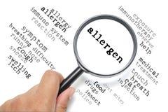 Alergia, foco conceptual de la salud en el alergénico Imagen de archivo libre de regalías
