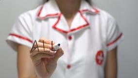 Alergia, kobiety doktorski writing na przejrzystym ekranie zbiory