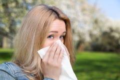 Alergia, wiosna, kobieta Zdjęcie Royalty Free