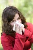 Alergic sneezeing Imagen de archivo