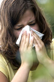Alergic sneezeing royalty free stock photos