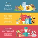 Alergii infographics ustawiający z allergens diagnostykami i alergii traktowaniem Zdjęcie Stock
