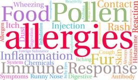 Alergii słowa chmura Zdjęcie Royalty Free