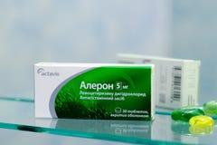 Aleron 5 mg, doos van 30 tabletten Stock Afbeeldingen