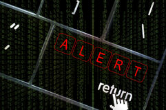 Alert concept with the focus on the return button. Overlaid with binary code Royalty Free Stock Photo