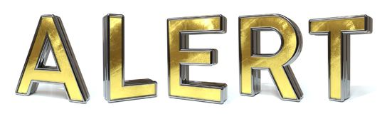 Alert golden text. Alert 3d rendered gold and silver color text on white Stock Photo
