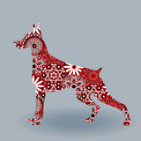 Alert Doberman Dog with stylized flowers over grey. Alert Dog of Doberman breed, vector silhouette fill with stylized flowers in red, white and black colors on a stock illustration