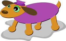 Alert Dog with Purple Sweater and Cap Stock Photography