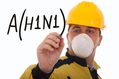 Alert for A(H1N1). Men writing a world alert for the swine influenza A(H1N1) (selective focus Stock Photo