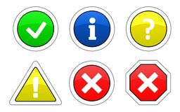 Alert icons. Illustration of six alert icons. Vector available Royalty Free Stock Photos