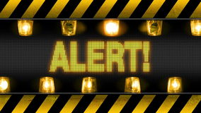 Alert Industrial Barricade. Industrial border with ALERT text and flashing orange warning lights. Seamless looping video animation royalty free illustration