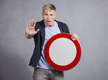 Alert man showing universal forbidden indicator. Stock Photography
