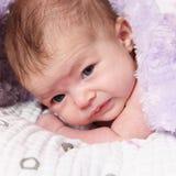 Alert Newborn Baby Lying on Blanket Stock Photos