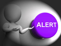 Alert Pressed Shows Warning Hazard Or Notice Stock Image
